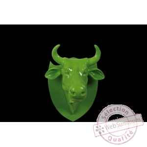 Figurine Trophée vache cowhead green  25cm Art in the City 80994