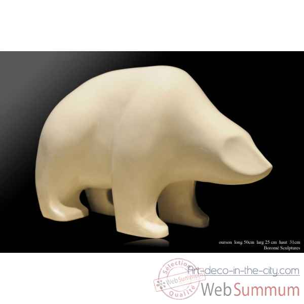 Ourson blanc en ceramique Borome Sculptures
