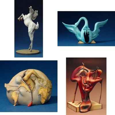 Lot 4 statuettes reproduction Savaldor Dali -LWS-475
