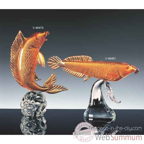 Video Poisson en verre Formia couleur ambre -V46481